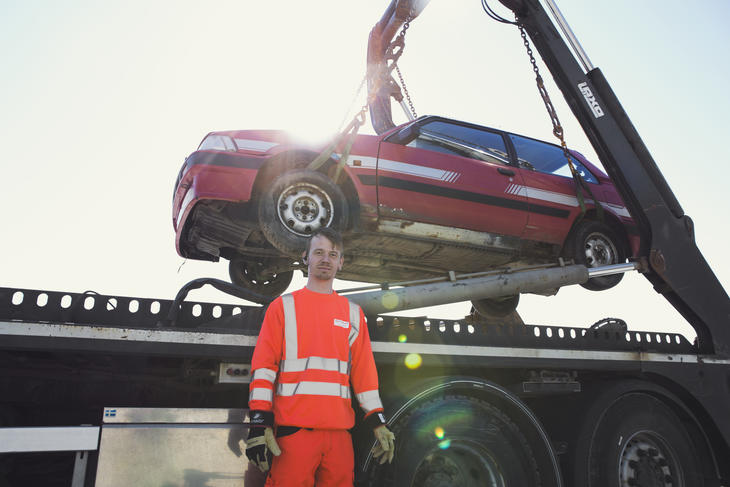 Bilvrak på bil