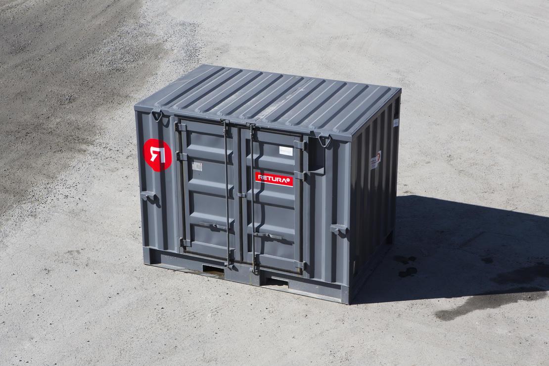 Robust 10 fot standard miljøcontainer for oppbevaring av farlig avfall