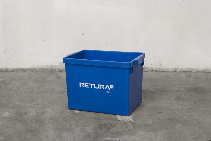 Blå papirkurv til innendørsbruk