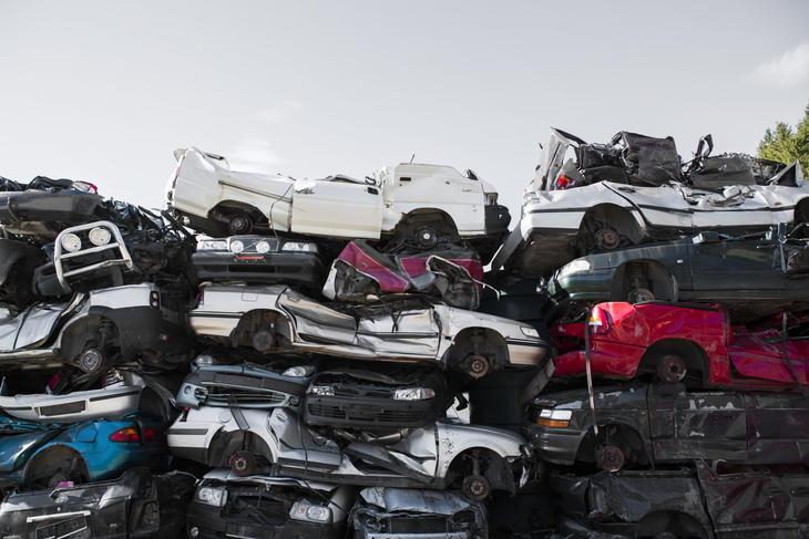 Bilinsamling på Vikan Avfallsplass